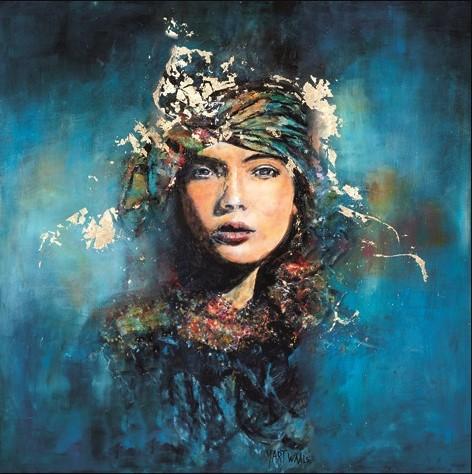 "Aluminium schilderij ""Mysterious Blue Woman"" van MondiArt"