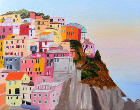 """Schilderij """"Huisjes op een klif"""""""