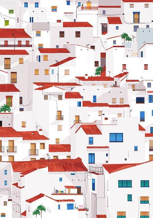 "Schilderij ""House on house on house"""