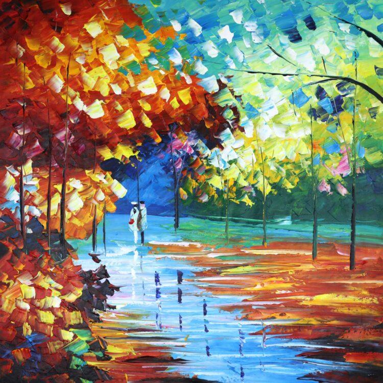 Kleurrijke boswandeling vierkant