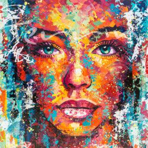 "Schilderij ""Colorful femme (vierkant)"""