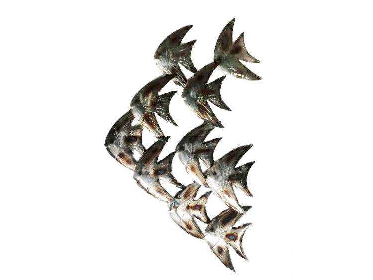 """Metalen wanddecoratie """"Sierlijke Maanvissen"""""""