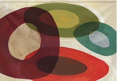 "Wandkleed ""Abstract circles"" van Mondiart"