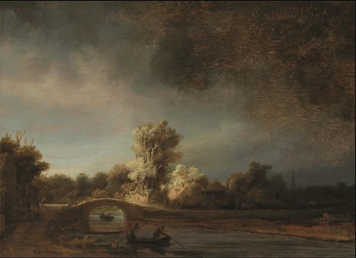 Wandkleed Landscape with stone bridge van Mondiart