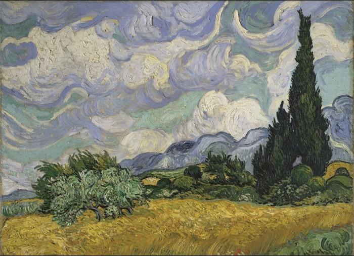 "Wandkleed ""Van Gogh Wheat field with Cypresses"" van Mondiart"