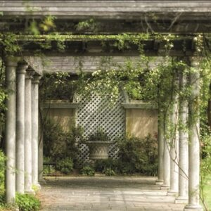 """Wandkleed """"Walkway in magical floral garden"""" van Mondiart"""