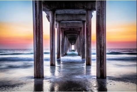 """Aluminium schilderij """"Jolla Pier Sunset"""" van MondiArt"""