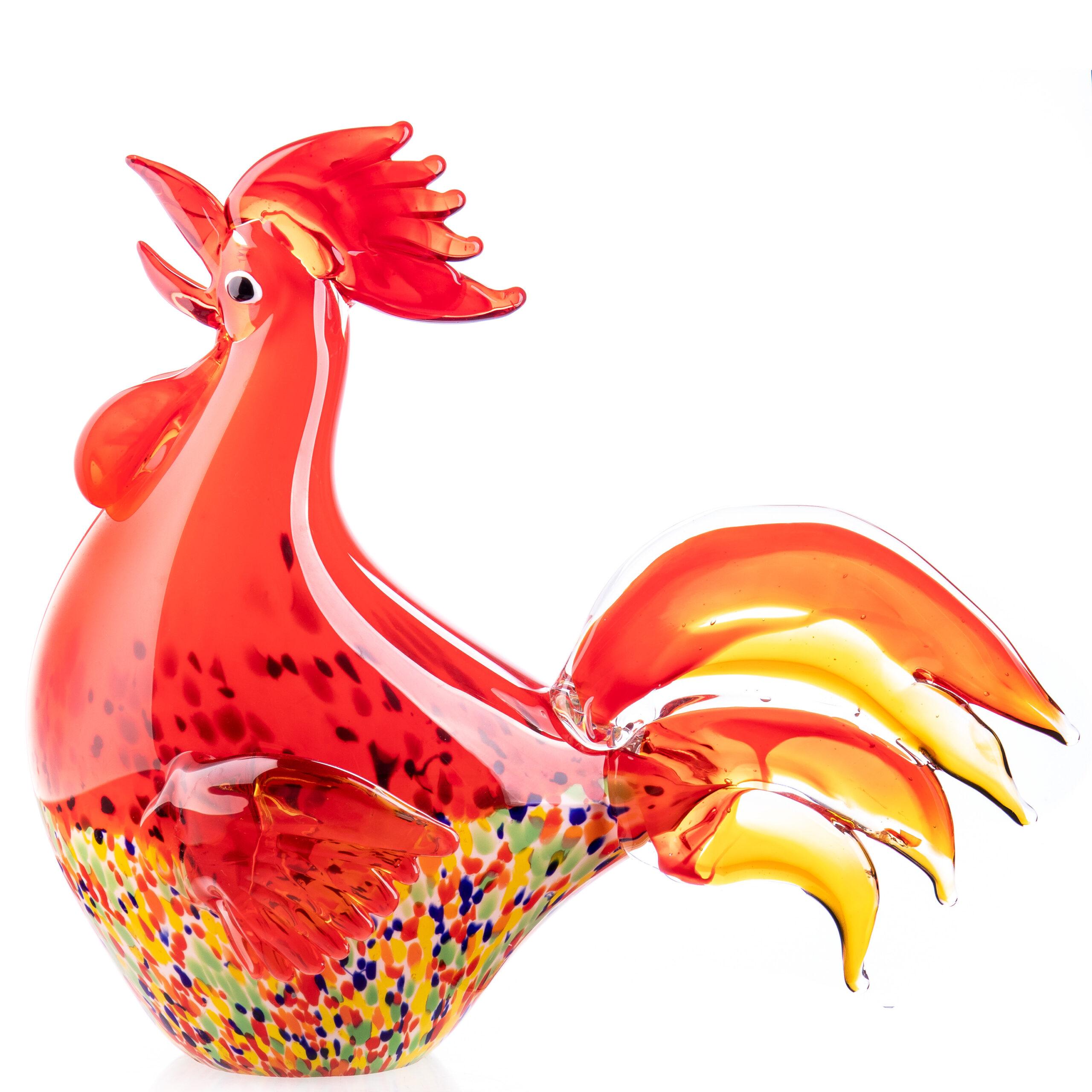 """Glazen beeld """"Red rooster"""""""