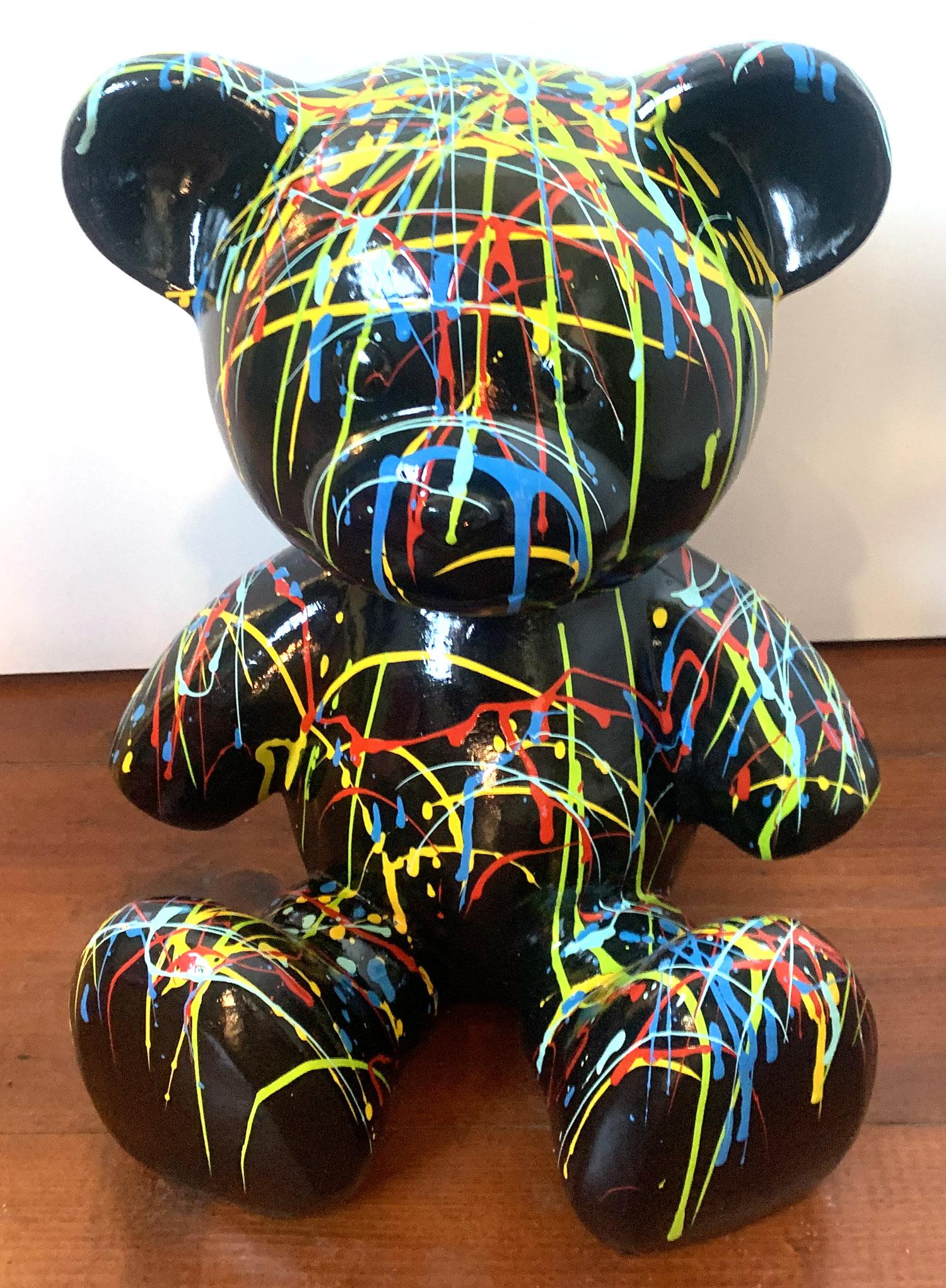 beeld teddybeer spetter zwart