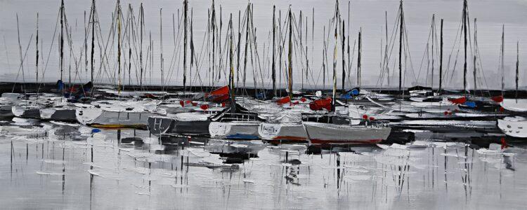 """Schilderij """"Zeilbootjes in de haven"""""""