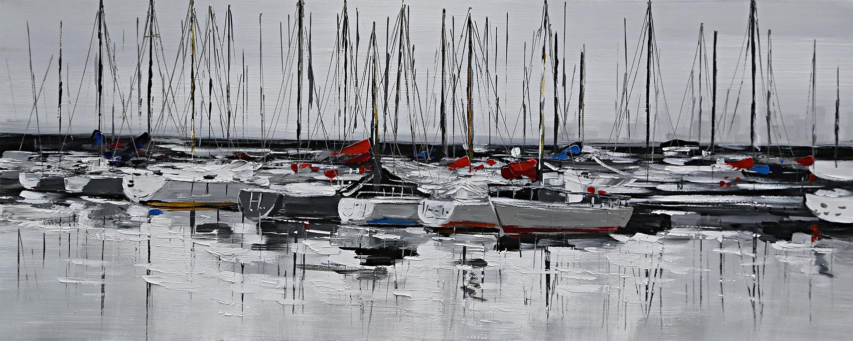 schilderij zeilboten in de haven