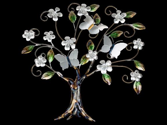 "Metalen wanddecoratie ""Butterflies in the Tree of Flowers"""