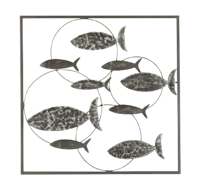 "Metalen wanddecoratie ""Fish and Bubbles"""
