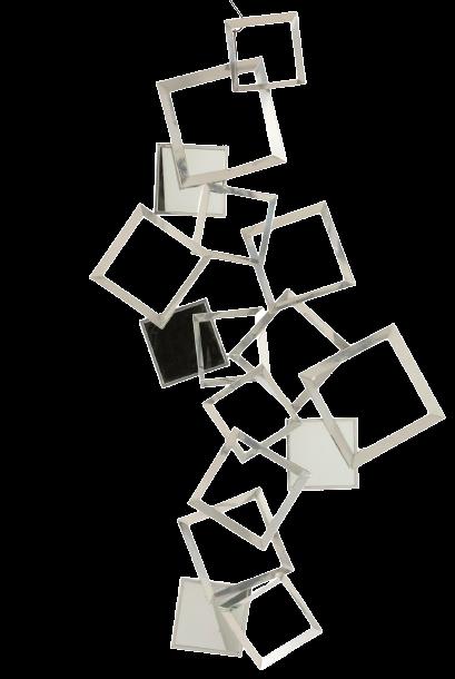 Metalen wanddecoratie Silver Squares