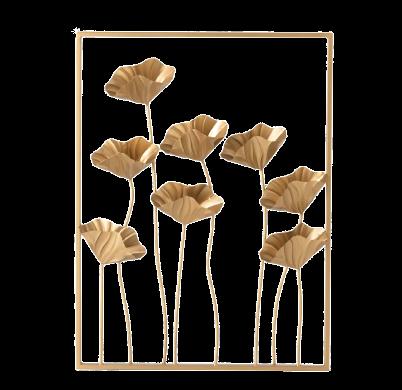 """Metalen wanddecoratie """"Golden Flowers"""""""