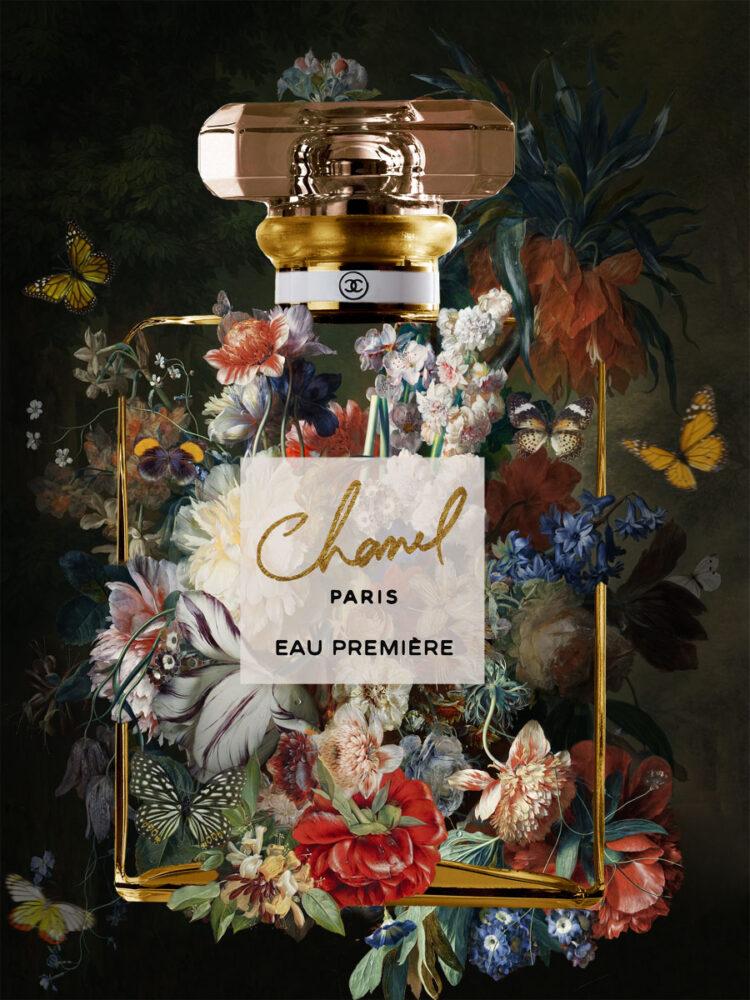 """Glasschilderij """"The scent of Chanel 1"""""""