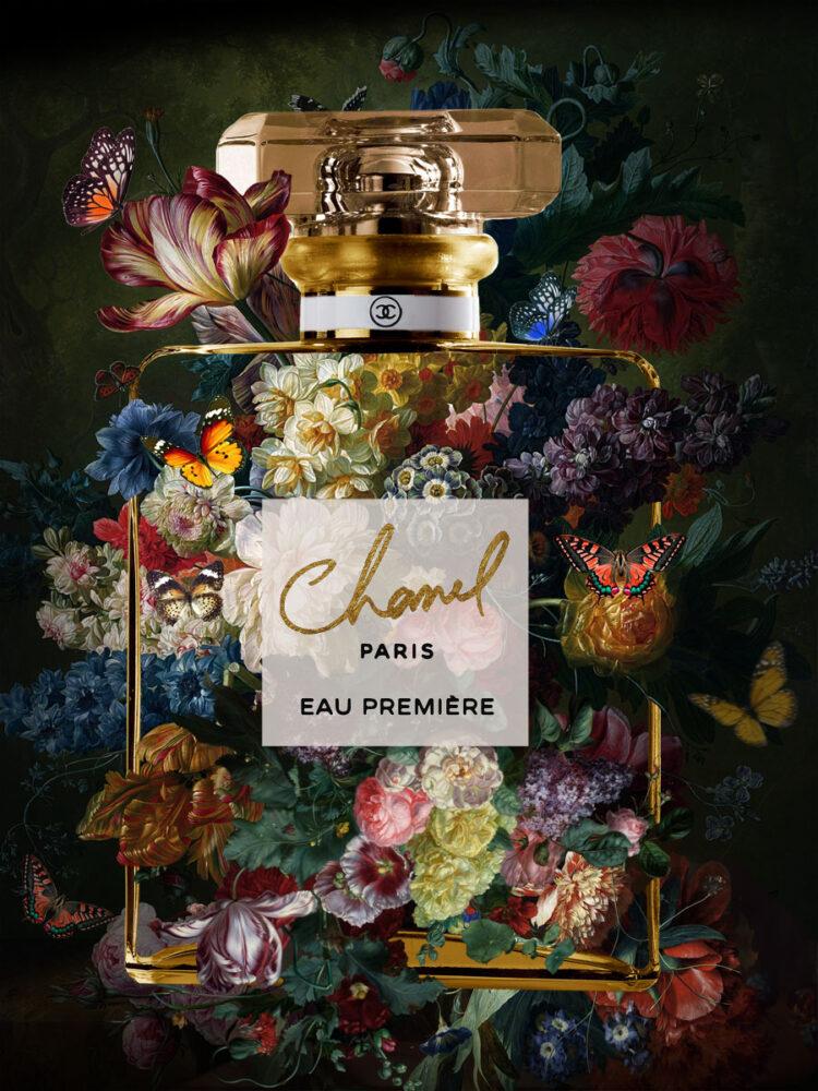 """Glasschilderij """"The scent of Chanel 2"""""""