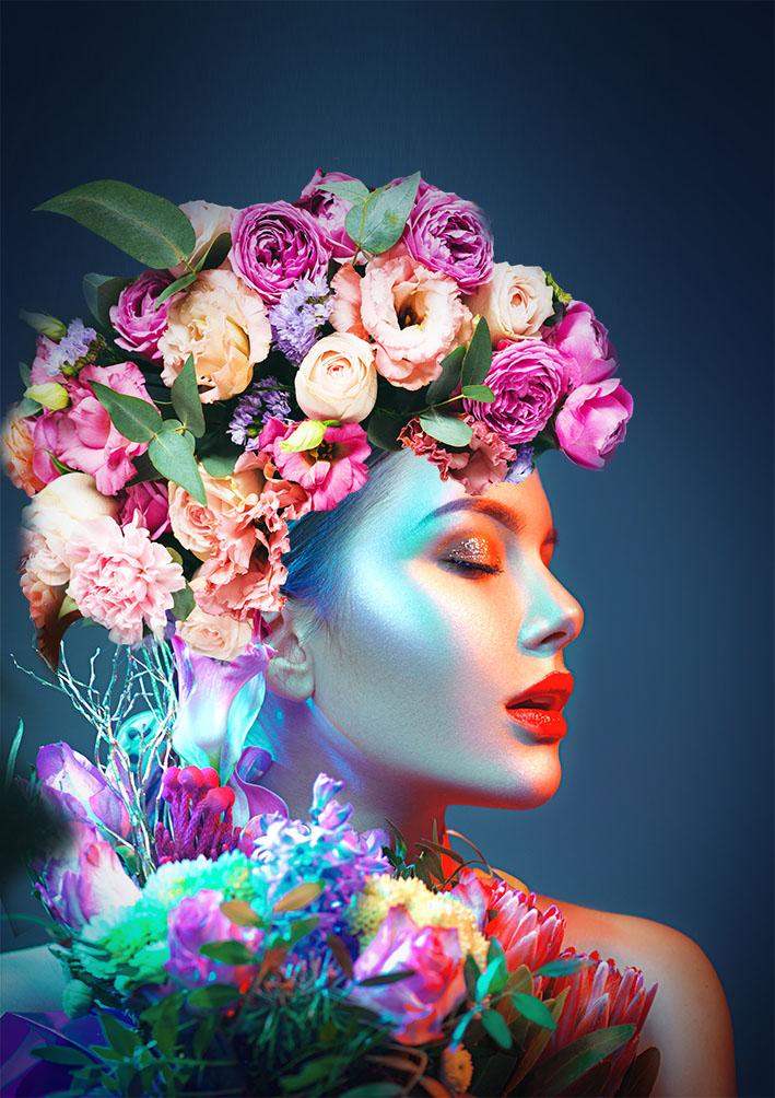 """Glasschilderij """"Model met rozen"""""""