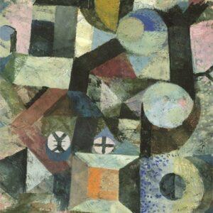"""Aluminium schilderij """"Yellow Half-Moon and the Y"""" van MondiArt"""