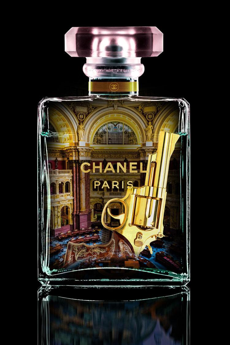 """Glasschilderij """"Chanel Paris gold"""""""