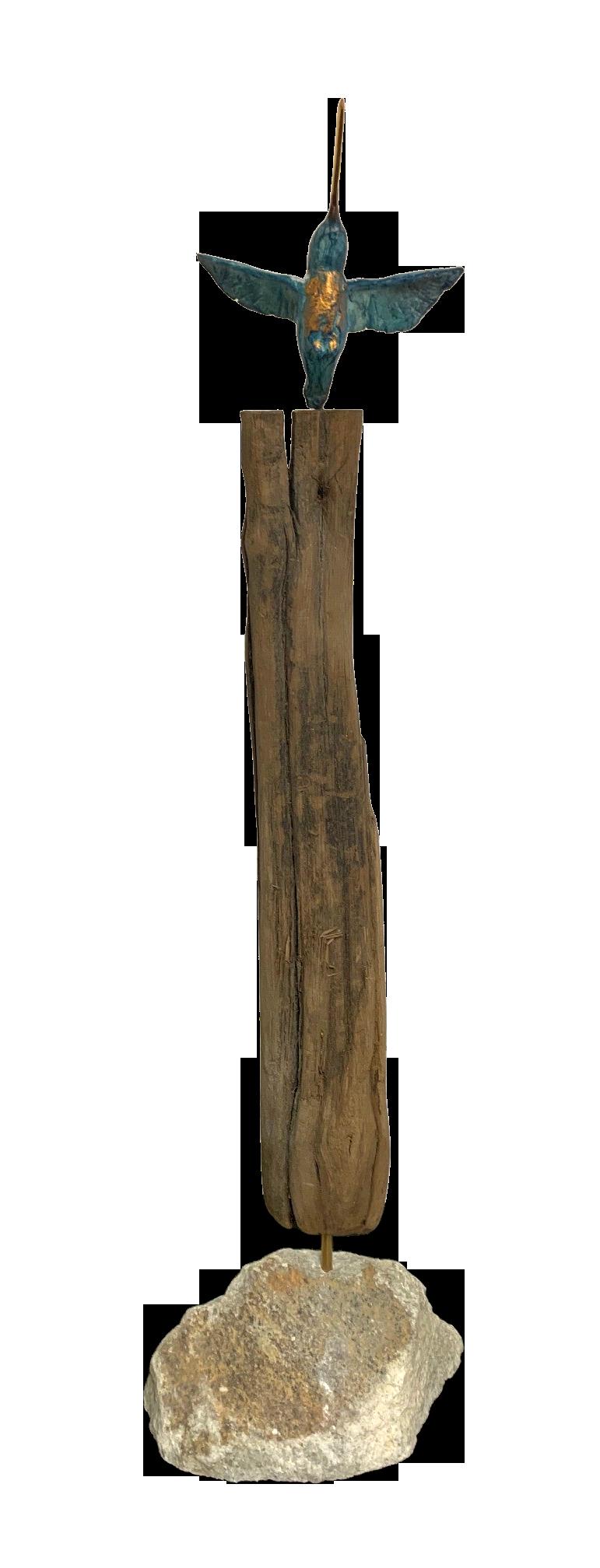 bronzen beeld kolibri op marmeren voet