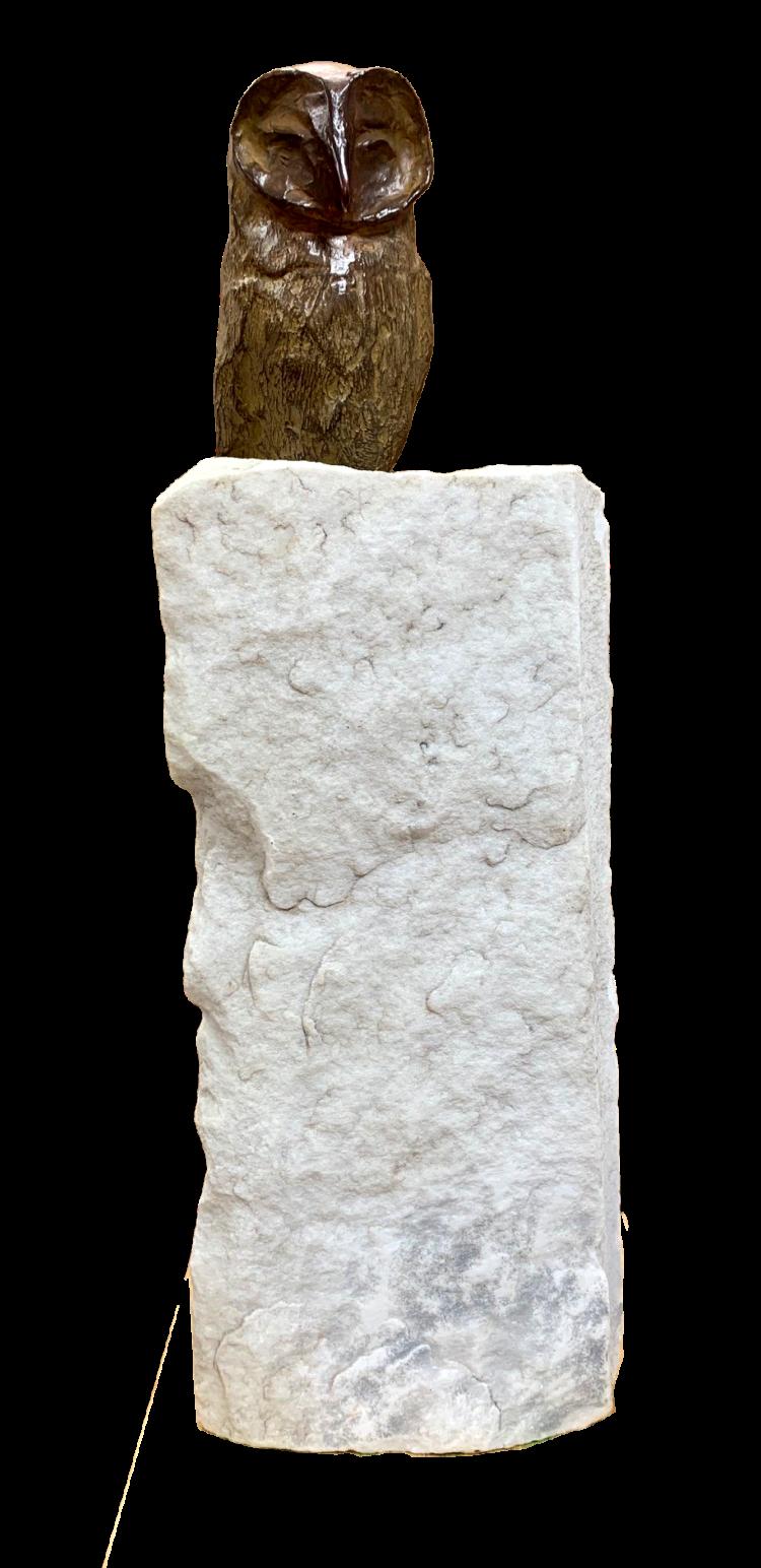 """Bronzen beeld """"Uil op marmeren sokkel"""""""