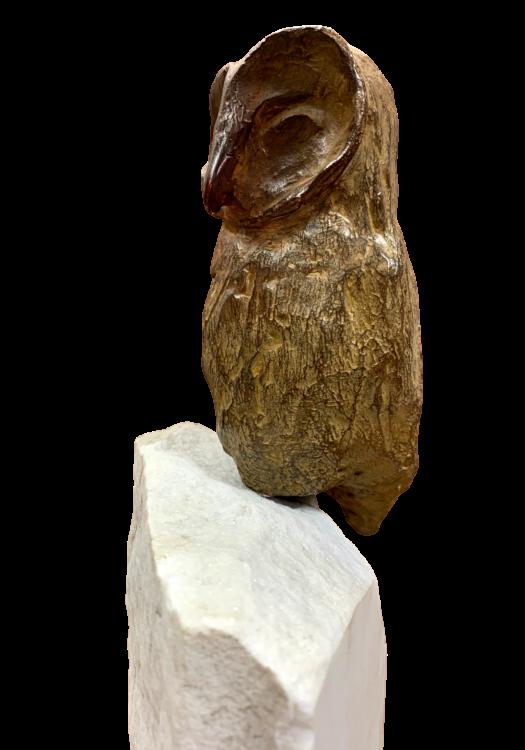 bronzen beeld uil op marmeren voet closeup