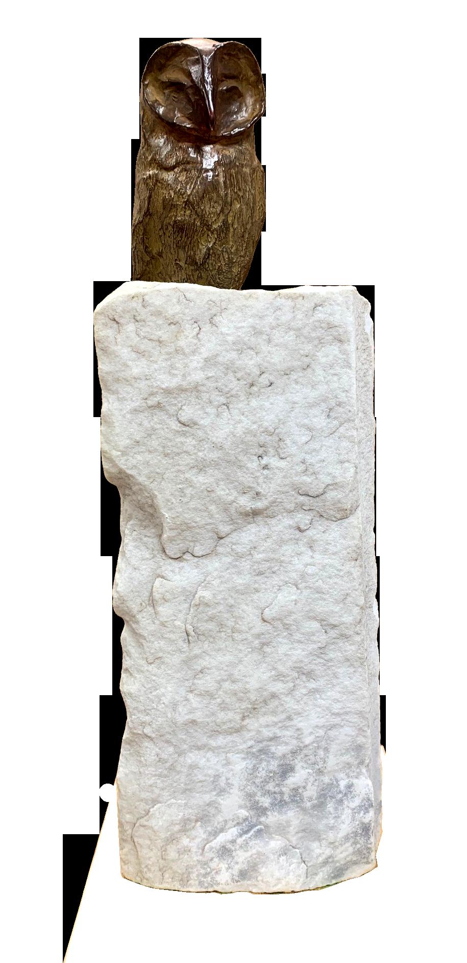 bronzen beeld uil op marmeren voet
