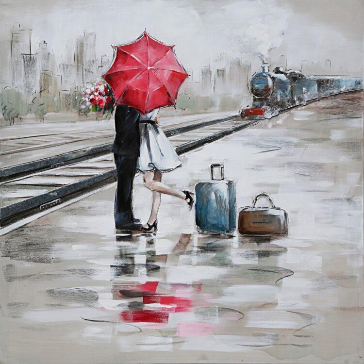 "Schilderij ""Goodbye at the Train Station"""
