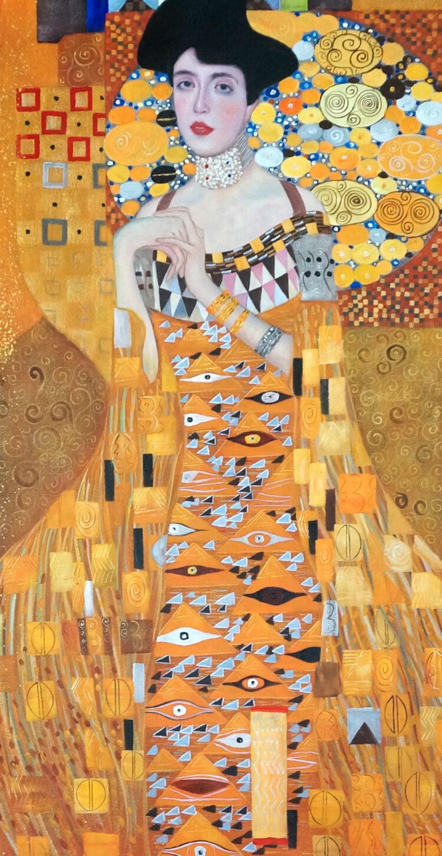 """Schilderij """"Gustav Klimt – De jurk"""" Pilaar versie"""