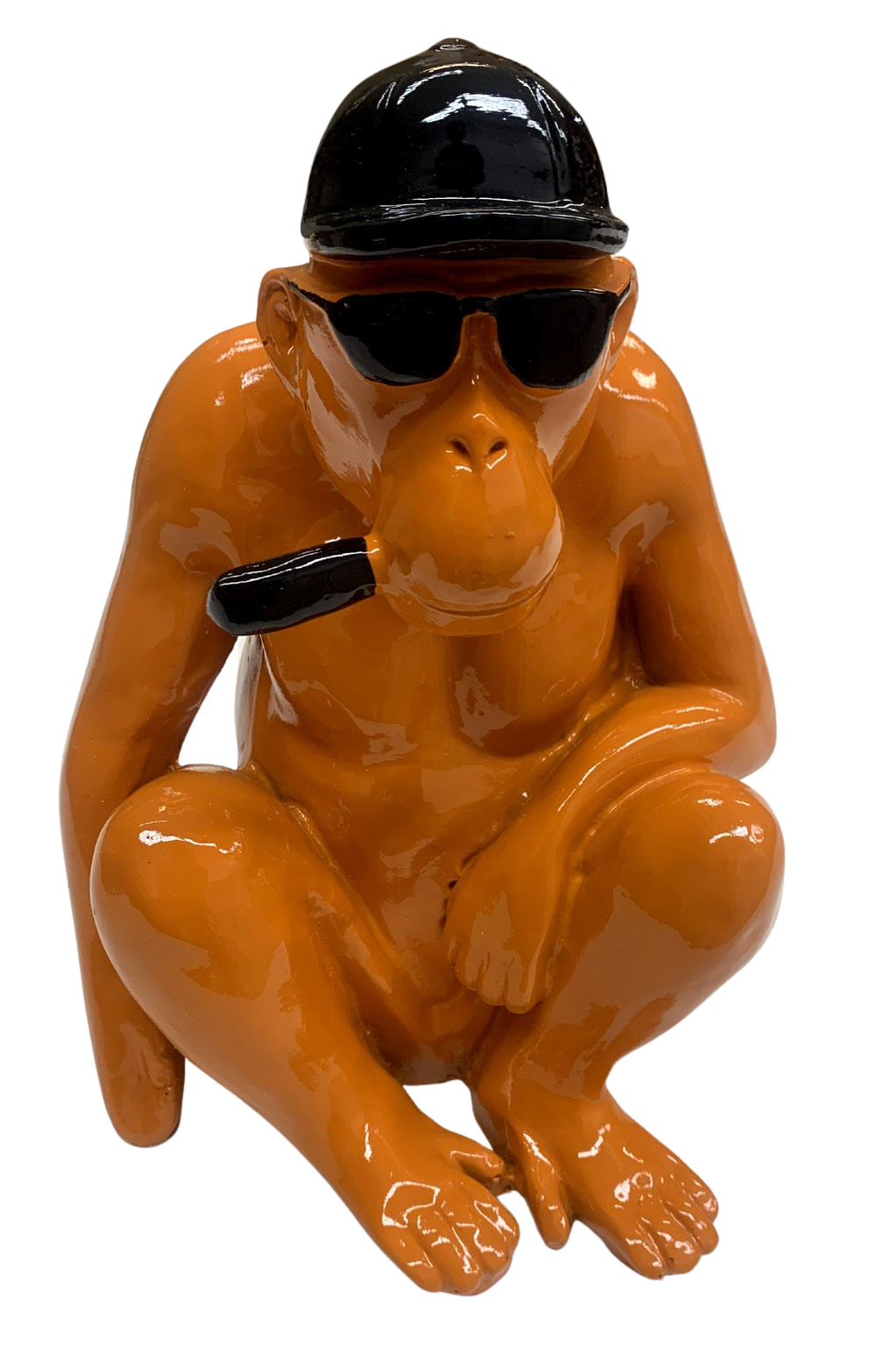 oranje beeld Chimpansee met hoed 180890-W