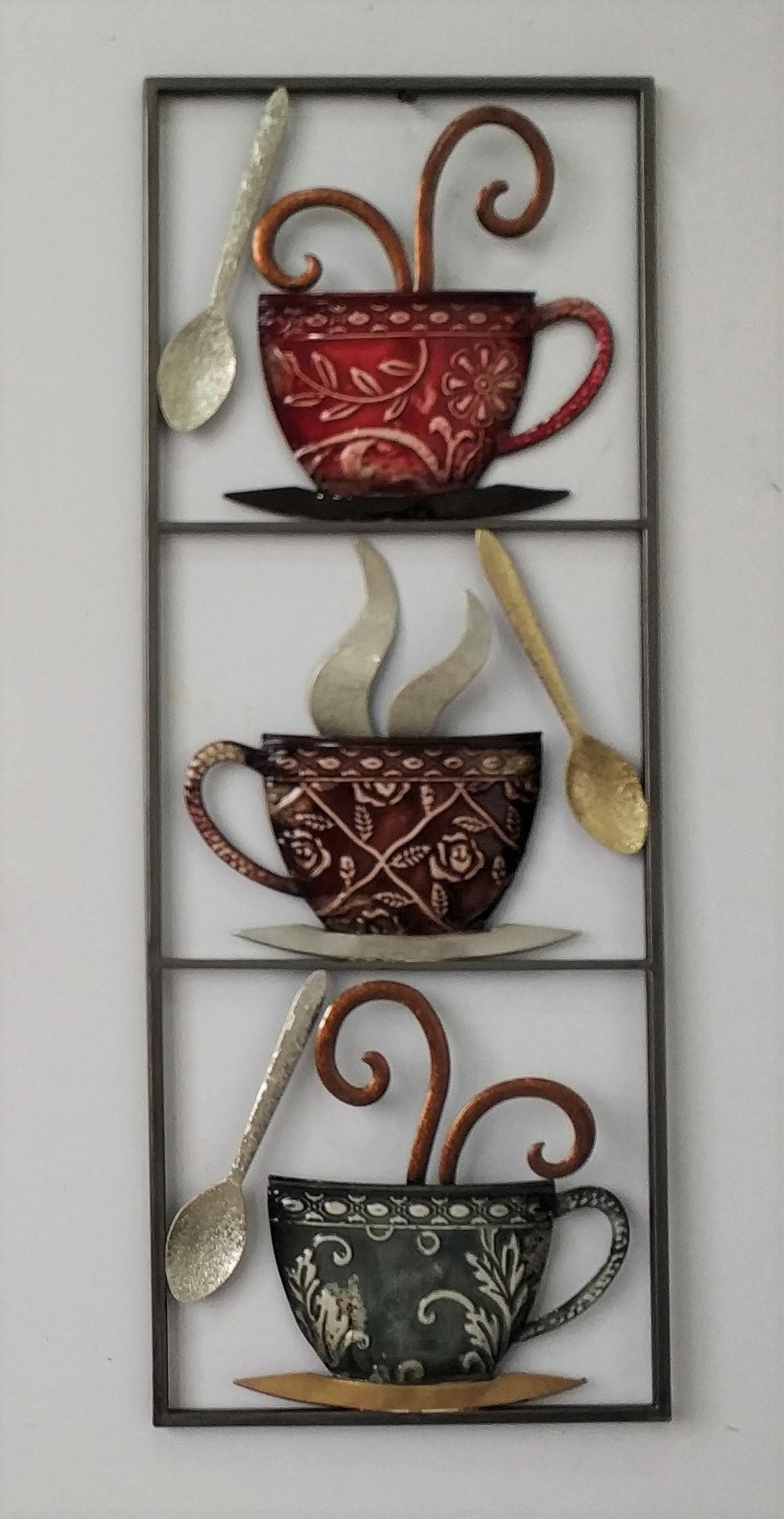 Metalen wanddecoratie More Coffee than Tea Koffie Thee GS-A34