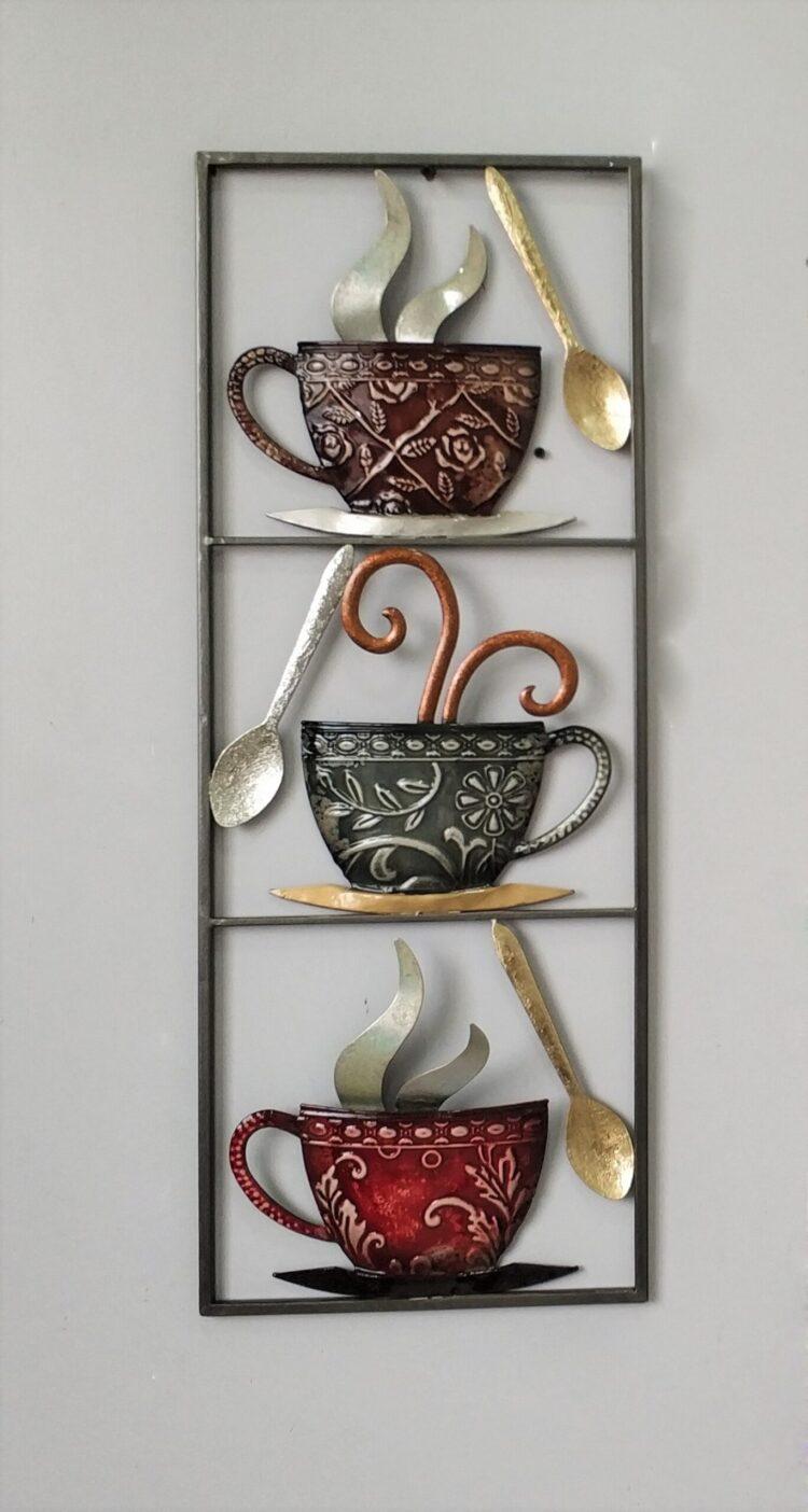 """Metalen wanddecoratie """"More Tea than Coffee"""""""
