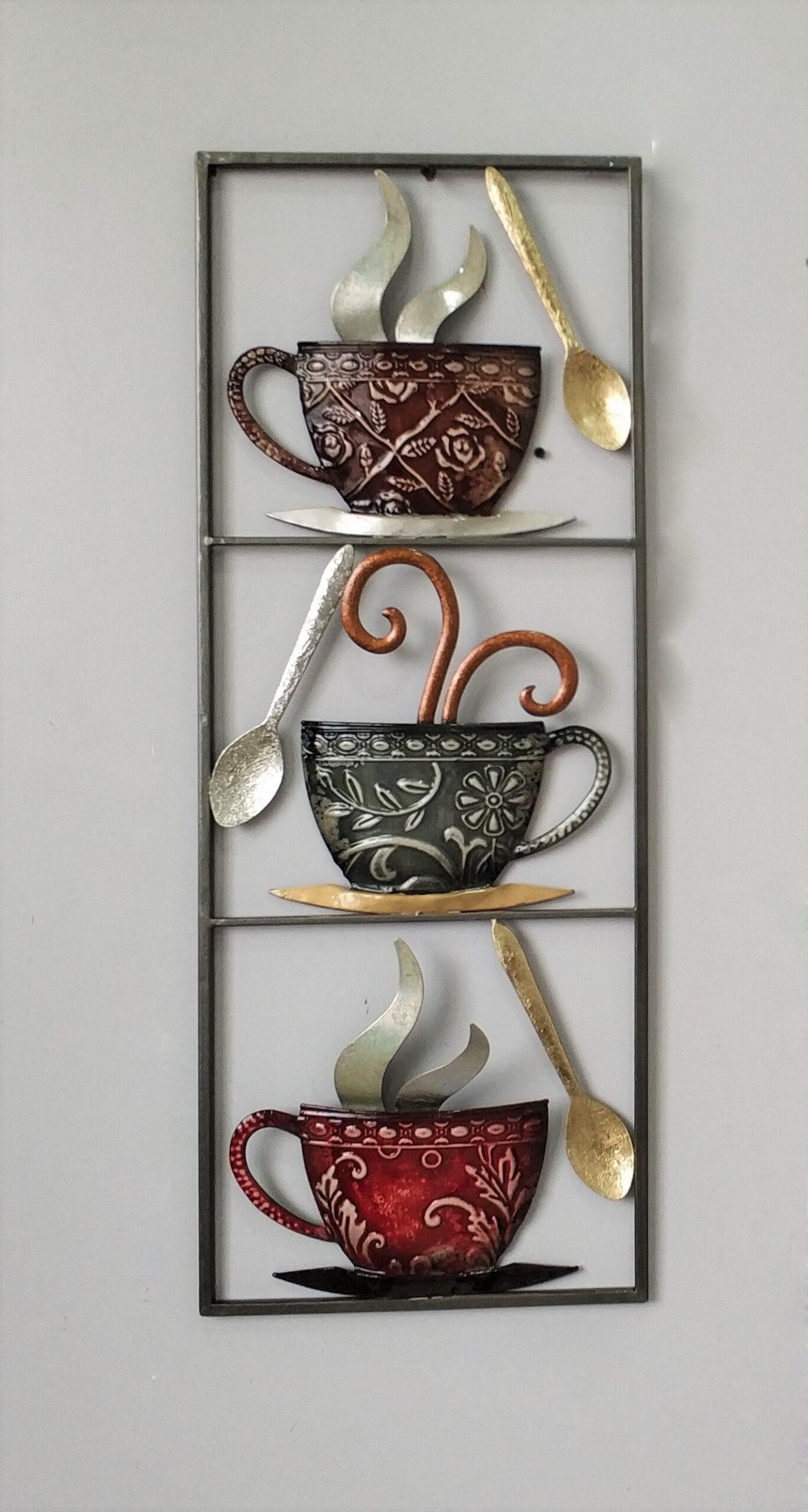 Metalen wanddecoratie More Tea than Coffee Thee Koffie GS-A35