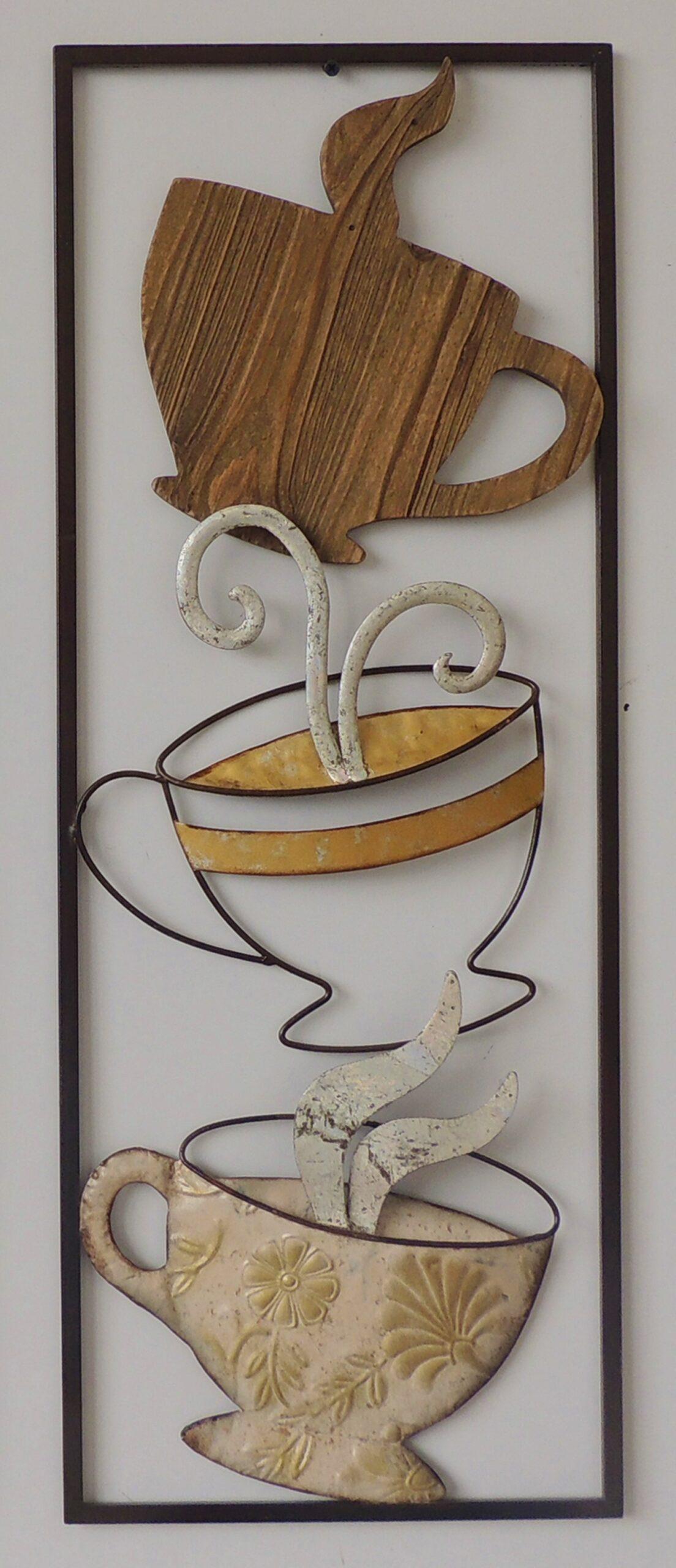 Metalen wanddecoratie Triple Coffee Break Koffie GS-A33