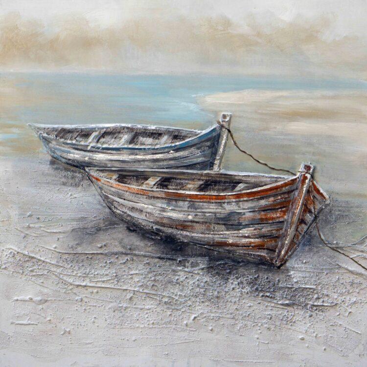 """Schilderij """"Boats by the Sea"""""""