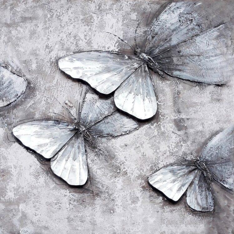 """Schilderij """"Butterflies in Grey"""""""