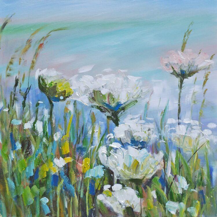 """Schilderij """"Flowers by the Lake"""""""