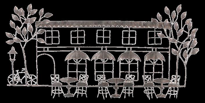 """Metalen wanddecoratie """"Terrasje met bomen"""""""