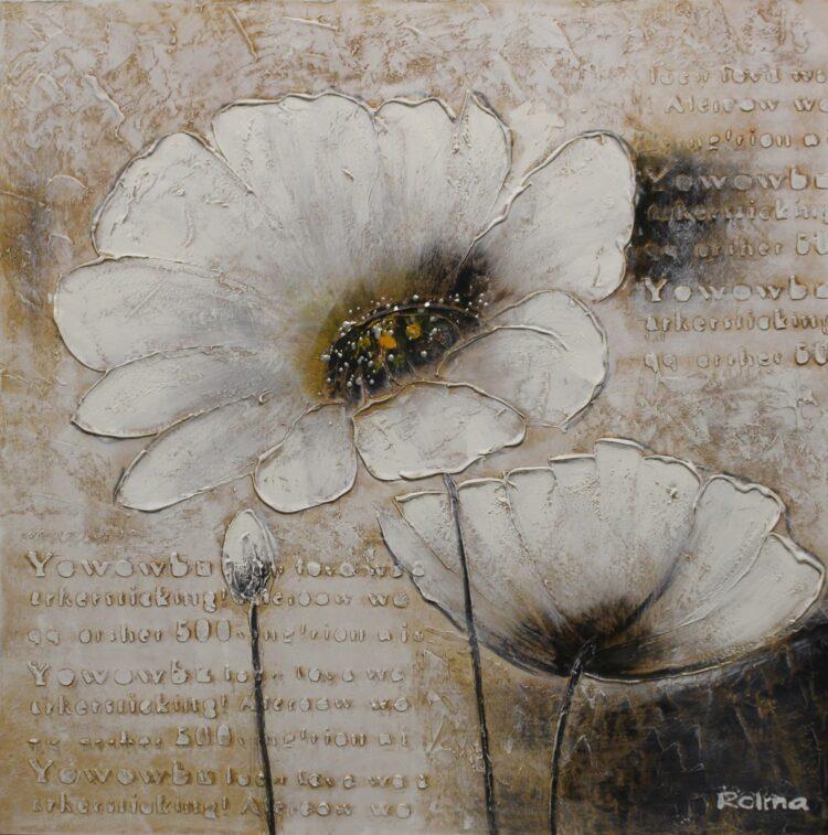 """Schilderij """"Text & Flowers"""""""