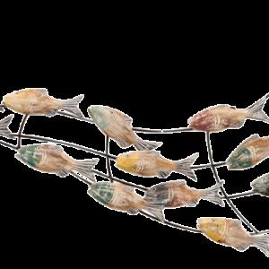 """Metalen wanddecoratie """"Wave of fishes"""""""