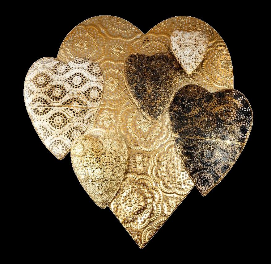 gouden hart metalen wanddecoratie 670489