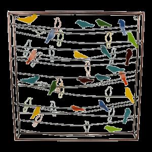 """Metalen wanddecoratie """"Birds on wires"""""""