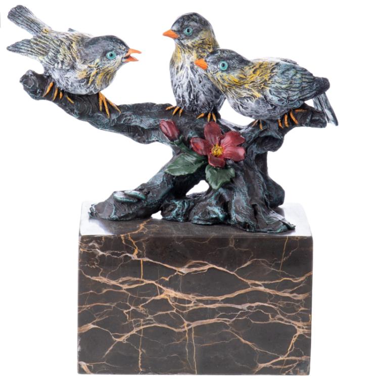 """Bronzen beeld """"Bird Gathering"""""""