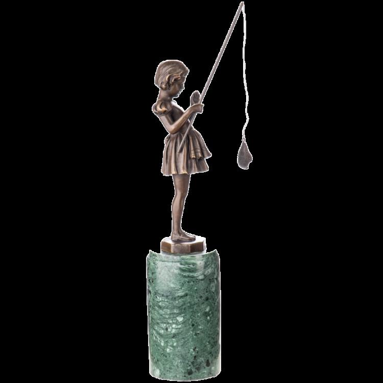 "Bronzen beeld ""Cute Fishing Spree"""