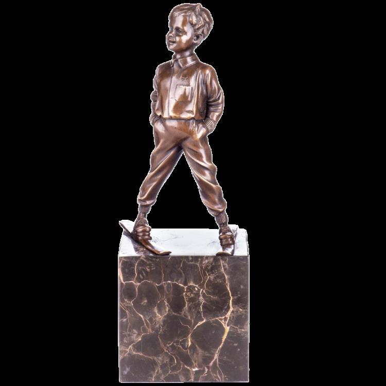 """Bronzen beeld """"Skiing Oliver"""""""
