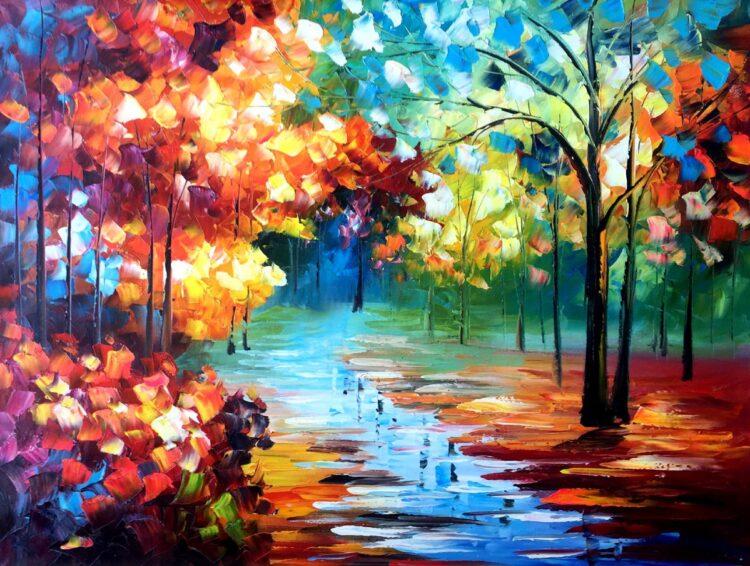 """Schilderij """"Kleurrijk bospad"""""""
