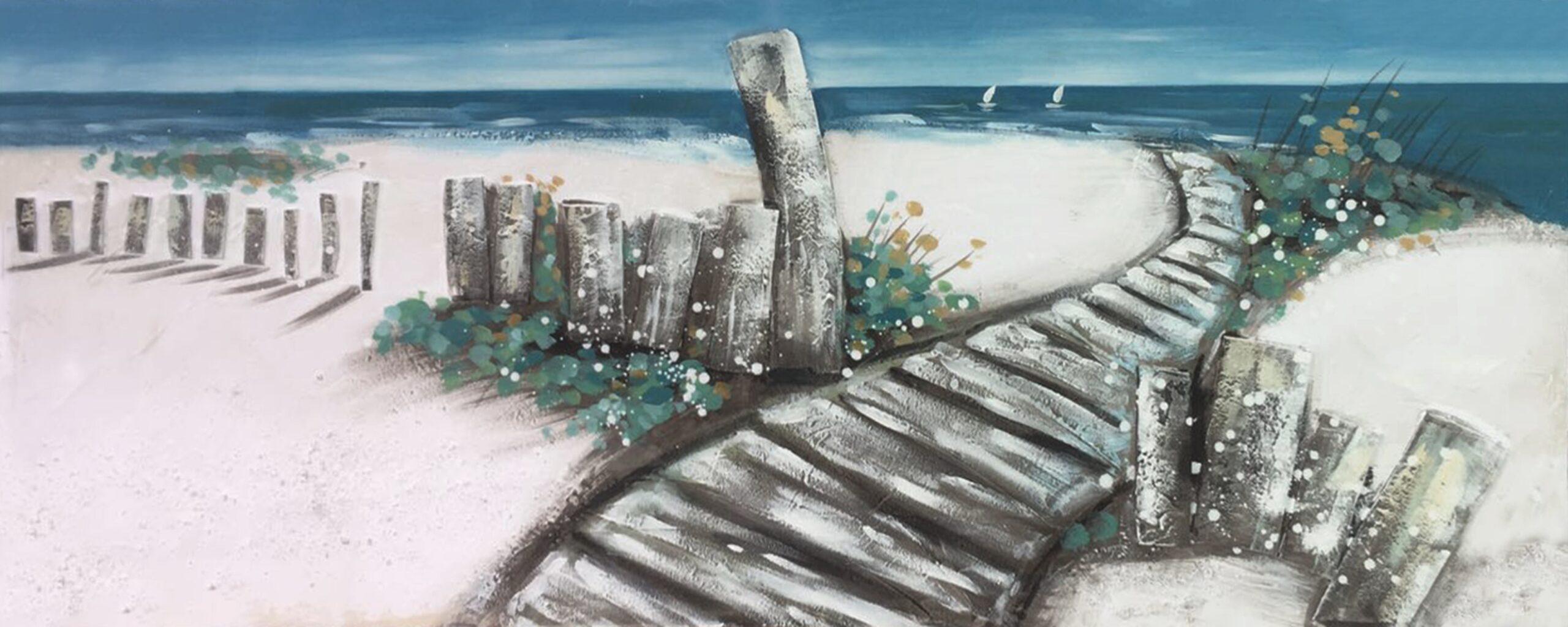 Schilderij Beach Wooden Walkway Looppad Strand GS-P0543