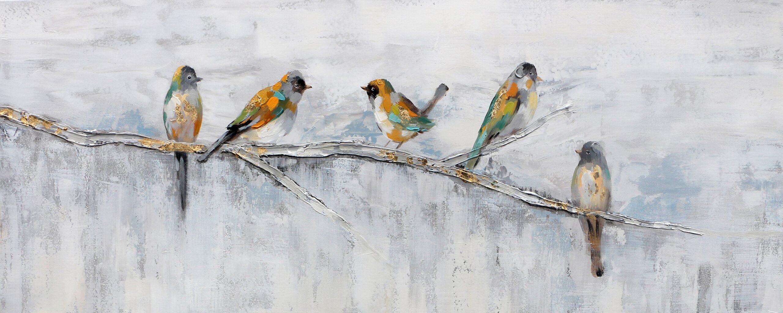 Schilderij Birds Together Vogels Boomtak GS-P0546