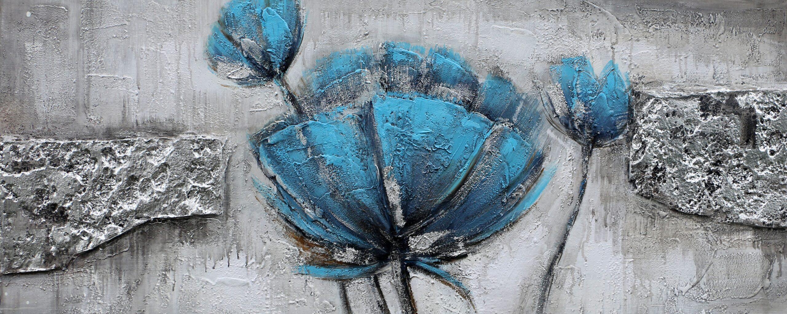 Schilderij Blue Beauty Bloemen Stenen GS-P0548